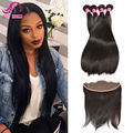7A Grade Peruvian Straight Hair With Closure 4 Bundles Peruvian Virgin Hair With Closure Cheap Human Hair Bundles With Frontal
