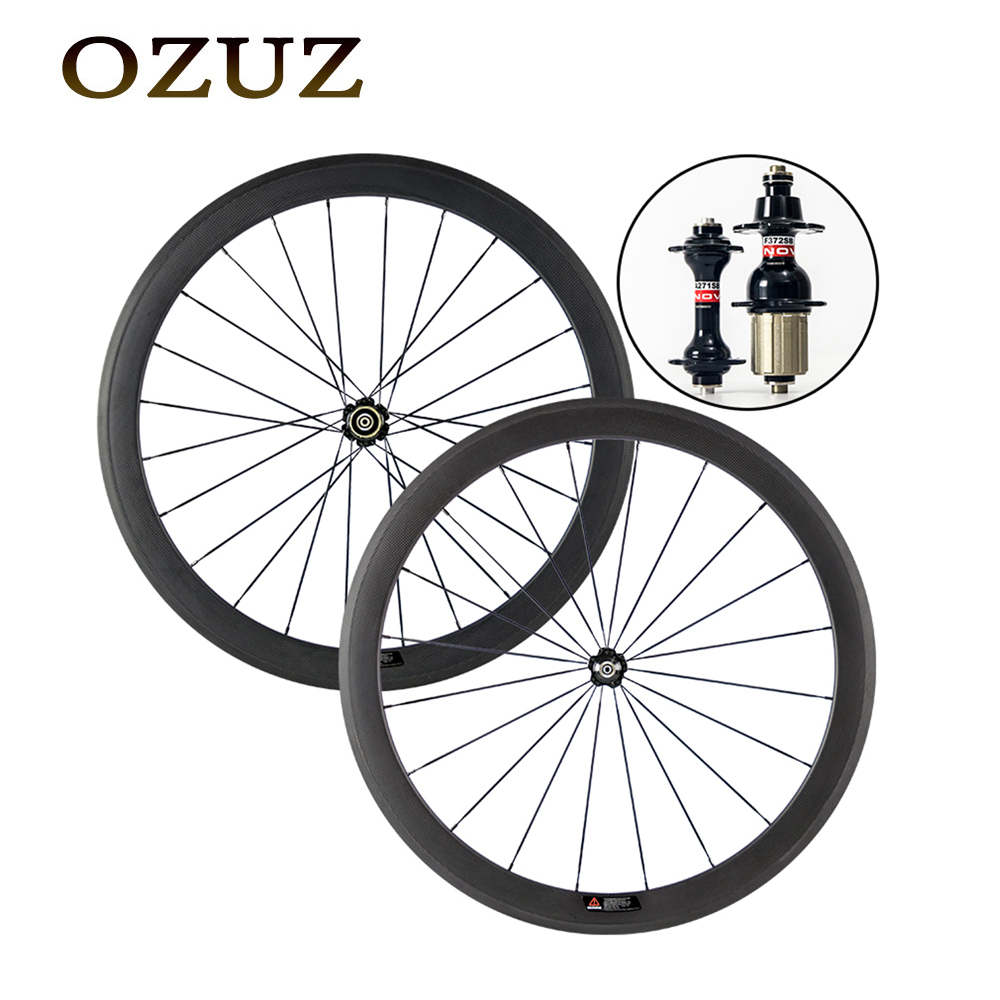 Custom duty free standard wheels 50mm clincher tubular carbon road wheels 3k matte or glossy 700c bicycle wheel Novatec 271 hubs 700c full carbon road bike wheel 50mm deep novatec powerway hub in 20 holes front bicycle wheel only 3k matte finish