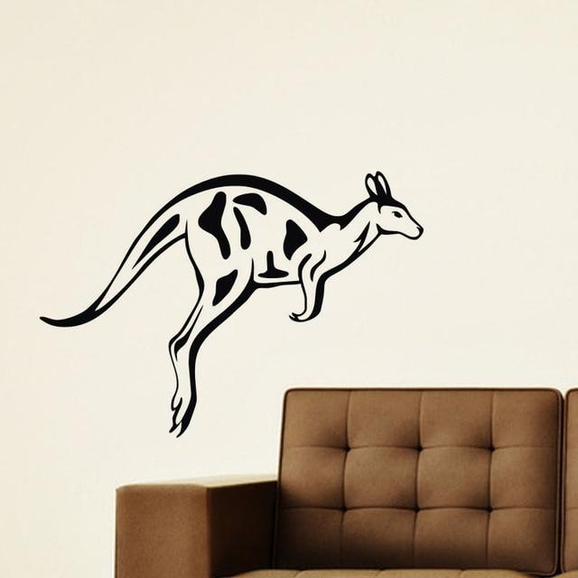 Dieren Stickers Muur.Springen Kangoeroe Muurstickers Home Decor Woonkamer Vinyl