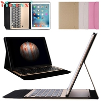 Ultra Aluminum Bluetooth Keyboard With Leather Case Cover For IPad Air2 9 7inch Ap7