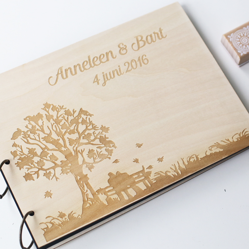 Personalized Engraved Tree Wedding Photo Album Custom Wood Guestbook Wooden Guest Book In Party DIY Decorations From Home