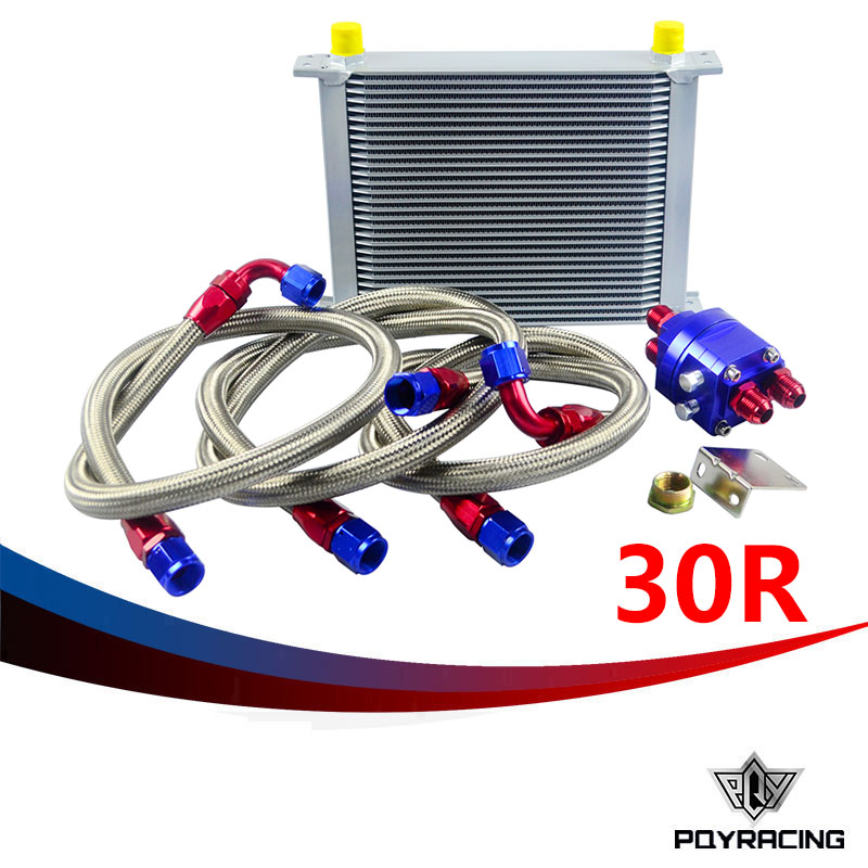 PQY RACING- UNIVERSAL 30 ROW AN10 ENGINE TRANSMISS OIL COOLER KIT +FILTER RELOCATION BLUE pqy store blue 15 row an 10an universal engine oil cooler kit aluminum hose end kit pqy5128