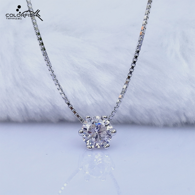 85b37e6ef COLORFISH Original 925 Sterling Silver Solitaire Pendant For Women 5mm  Round Cz Simple Fashion Chork Chain