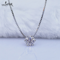 925 Sterling Silver Pendant Necklace Women Round 5mm Simulated Solitaire Diamond Pendant Link Chain Simple Fashion