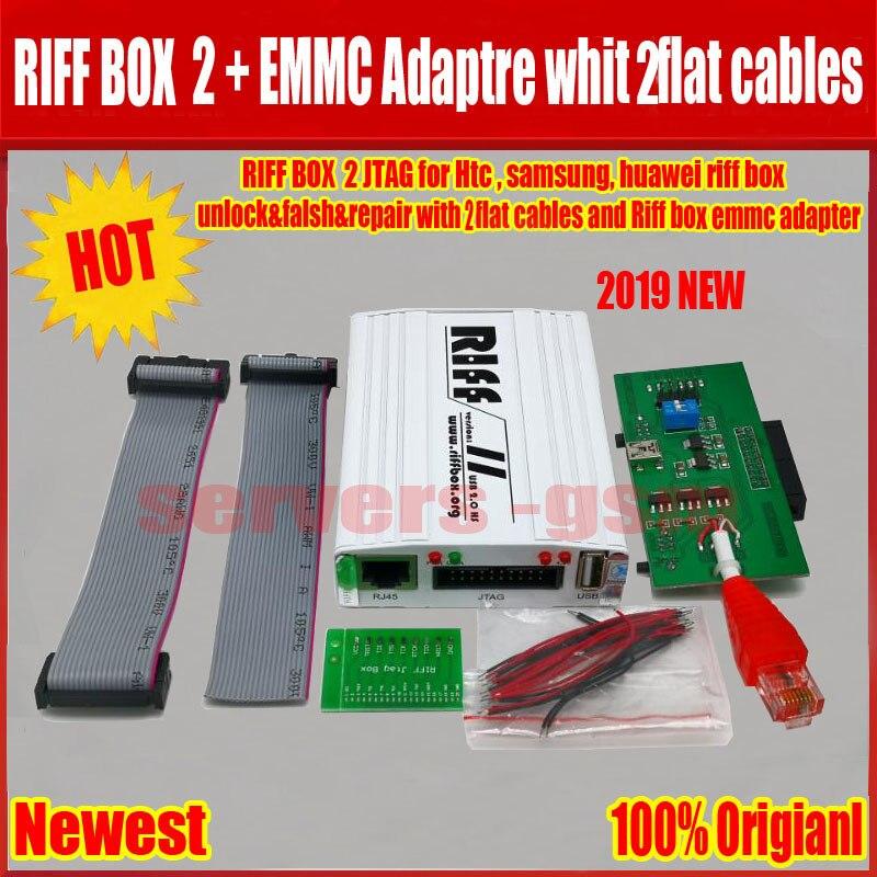 2019 nouveau Original RIFF BOX 2 JTAG (RIFF BOX + EMMC + adaptateur + 2 câbles plats) pour HTC, SAMSUNG, Huawei Riff Box déverrouillage & Flash & réparation