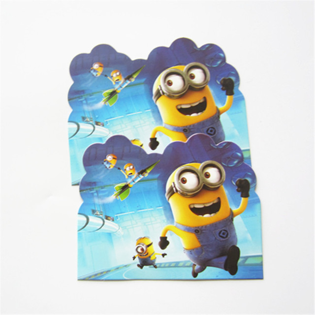 10pcs Cartoon Minion Movie Theme Birthday Invitation Card Kid Gift For Party Baby Shower Decoration