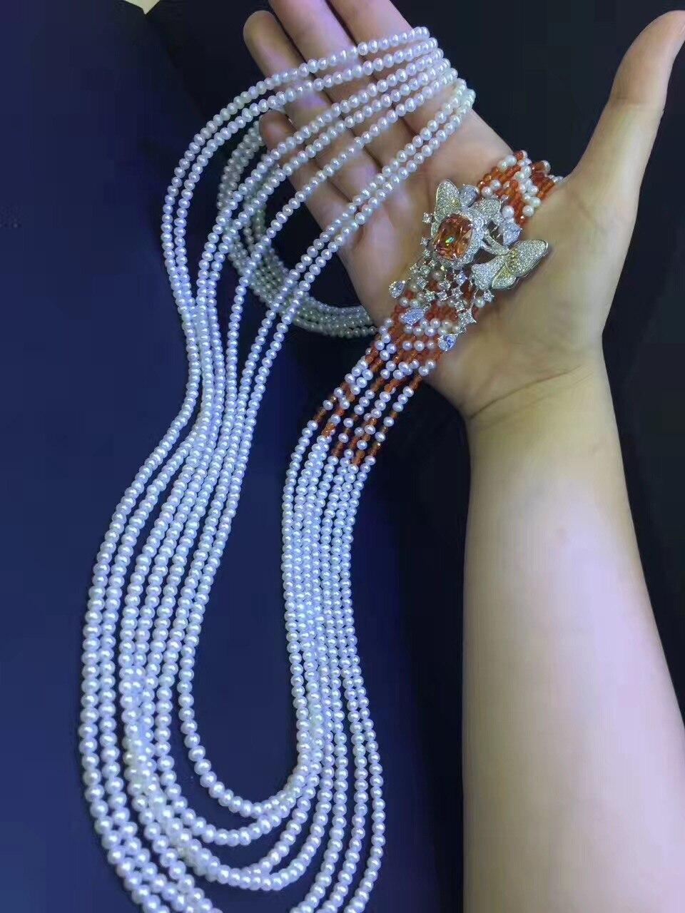 Драгоценный камень ювелирные изделия Настоящее натуральное пресноводное жемчужное ожерелье 3 4 мм маленькое жемчужное ожерелье Мутли слое