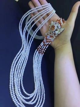 Joyería de piedras preciosas collar de perla natural de agua dulce real 3-4MM collar con perla pequeña multicapa perla cultivada 925 Plata larga
