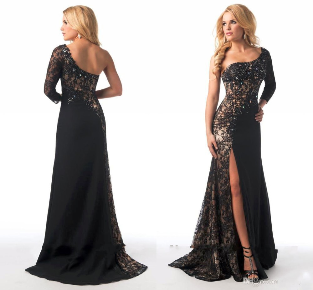 2018 Glamorous Mermaid party prom gown One Shoulder Long Sleeve Crystal Split Side Lace Women robe de soiree   bridesmaid     dresses