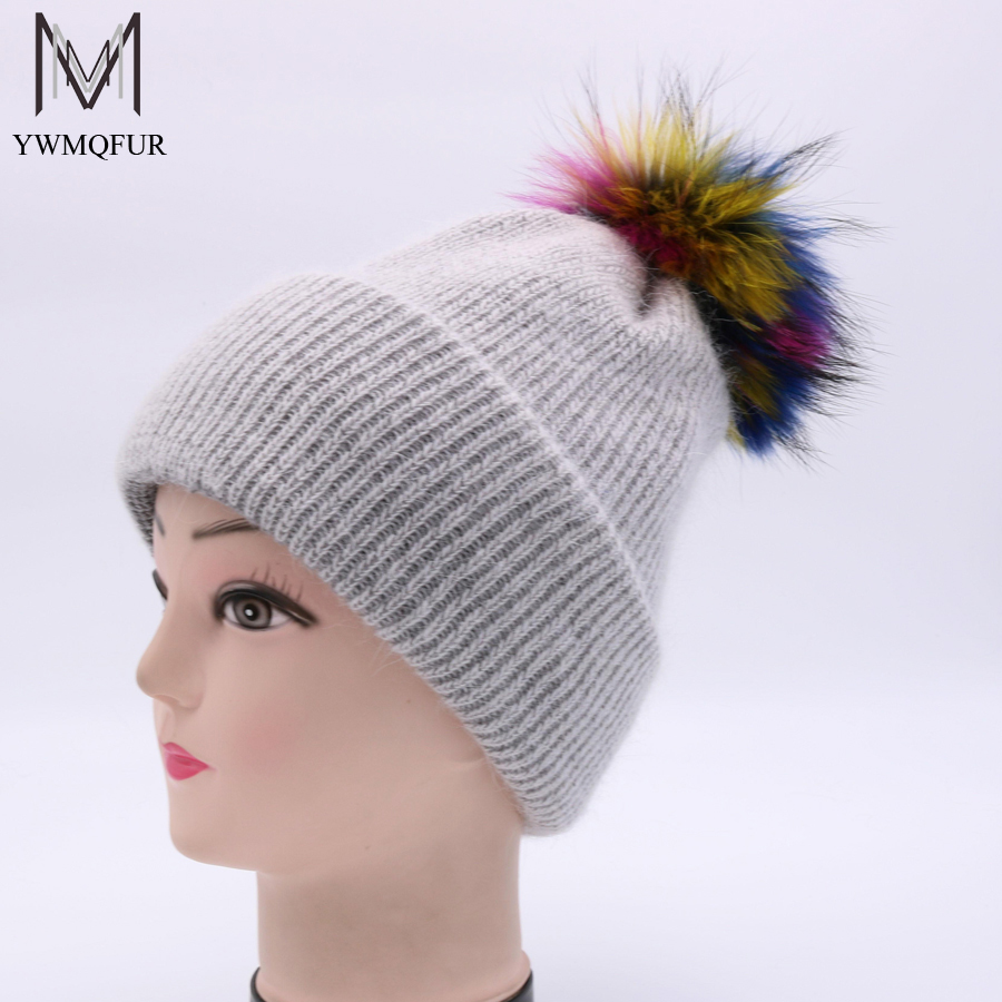 YWMQFUR 2017 New Warm Winter fur Hats Raccoon Fur Pom Pom Female cap Wool Hat Women Fur Hat Knitted Female Skullies Beanies H89 the new children s cubs hat qiu dong with cartoon animals knitting wool cap and pile