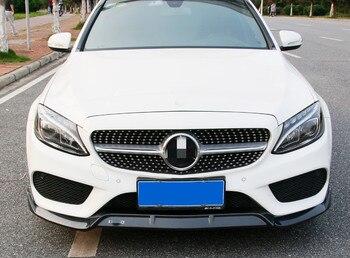For  Benz C Class Front lip spoiler W205 C180L C200 C300 carbon fibre Material   spoiler Front guard plate
