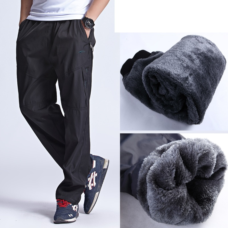 Grandwish  New Winter Fleece Pants Mens Thick Warm Trousers Men Elastic Waist Heavyweight Pants Men Zipper Pocket ,DA316