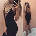 Women Sexy Dress 2016 Newest Halter Deep V Neck Sleeveless Bodycon Midi Club Party Dresses Black Red Backless Vestidos Slim Fit