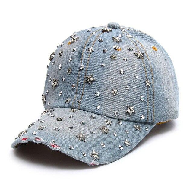 VONRU Hot Sale High Quality Denim Hats Fashion Leisure Woman Cap with Stars  Rhinestones Vintage Jean Cotton New Baseball Caps 33b74ebc7be