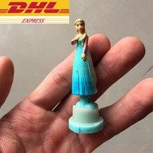 DHL 100st / set 6cm Cartoon Snow Queen Elsa Anna Q Version Snowman Cake Decoration PVC Action Figur Collectible Modell Toy W55