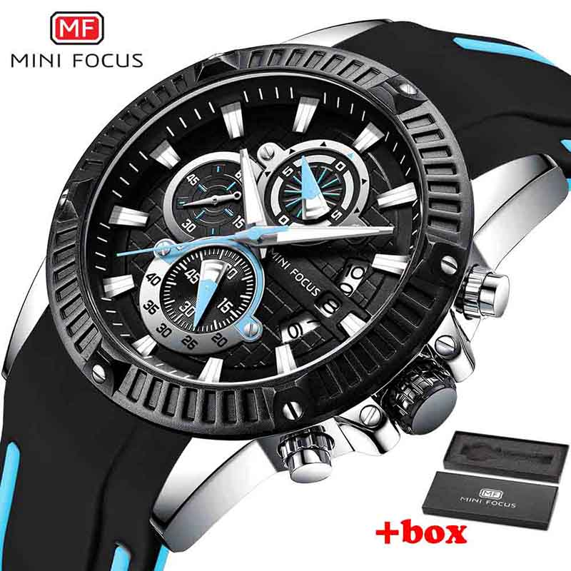 Quartz Watch Men's Chronograph Analog with Date, Luminous Hands, Waterproof Silicone Rubber Strap Wristswatch for Man with box thumbnail