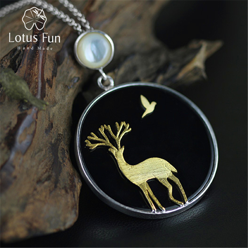 Lotus Fun Real 925 Sterling Silver Natural Agate Handmade Fine Jewelry Deer and Bird Design Pendant without Necklace for Women 2 3mm red natural agate necklace multi layers 925 sterling silver with real pearl fine womne jewelry wedding party necklace