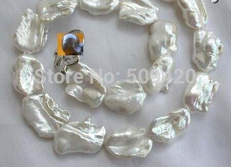 ~~ Free Shipping >>stunning big 23mm baroque white keshi reborn freshwater pearl necklace