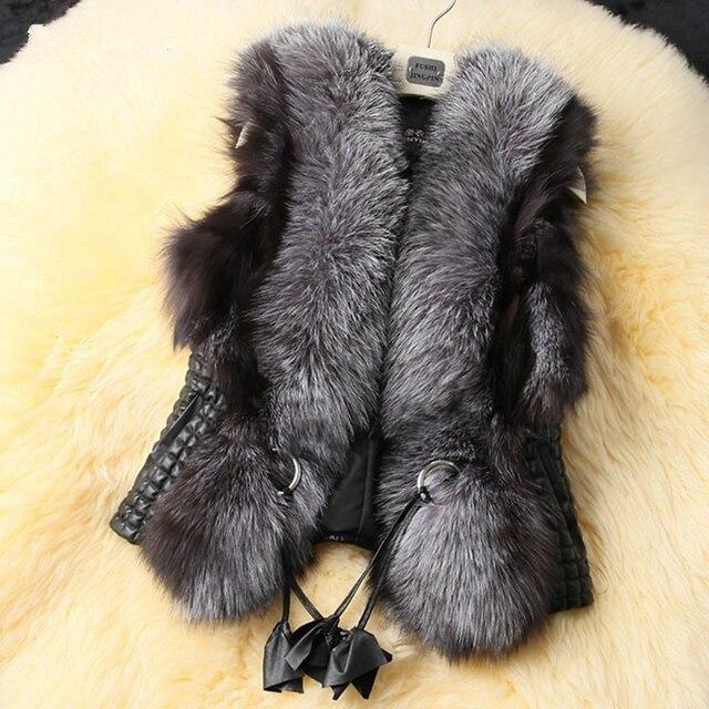 New Gradient Color Women Faux Fur leather Vest and Coat Plus Size Womens Autumn Winter Fur Jackets Coats Sheep Vest Women