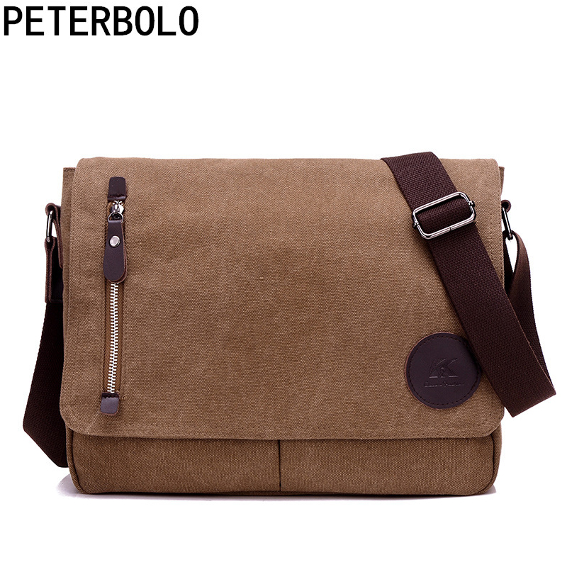 Peterbolo Designer Daily Shoulder Bag High Quality for Teenagers Male Vintage Crossbody Bag Boys Preppy Style Sacoche Homme