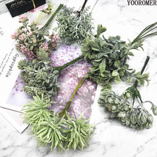 YOOROMER 6pcs Artificial Plants Fake Grass Flowers for Home garland DIY Scrapbooking Wedding Christmas Decoration