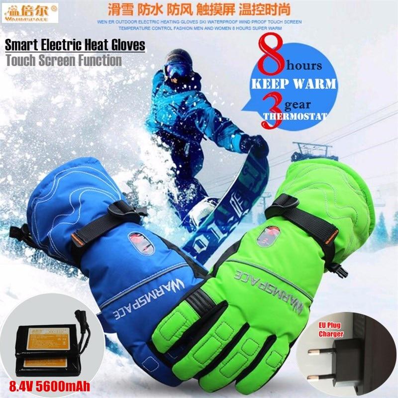 5600 mah Smart Touch Screen Elettrico Riscaldato Guanti, outdoor Sport Sci Guanti Batteria Al Litio 5 Fingers & Mano Posteriore Riscaldamento Autonomo