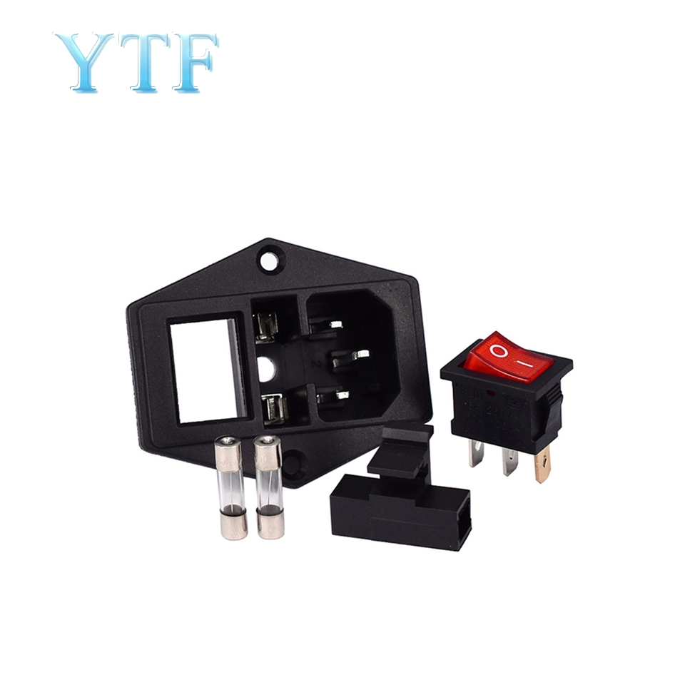 10A 250V Power Switch AC Part For Makerbot For Ultimaker 3 In 1 Fuse Supply Socket Outlet Red Black 3D Printers Parts