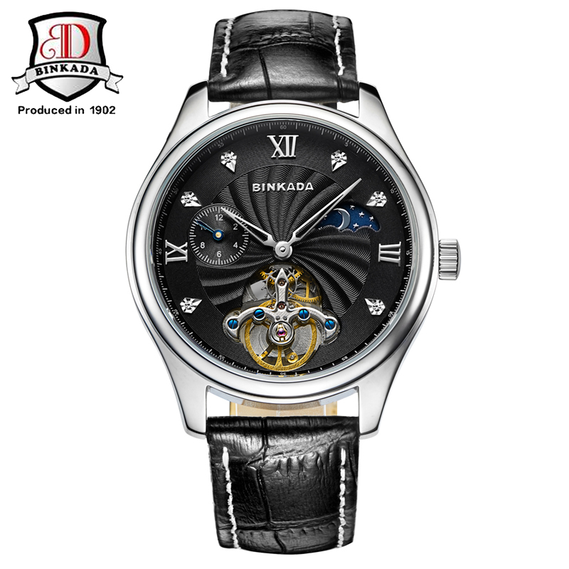 Men Automatic Self Winding Mechanical Watch High Quality Analog Full Steel Band Relogio Mens Sport Army BINKADA Wrist Watch chongqing quality 100% copper winding rotor