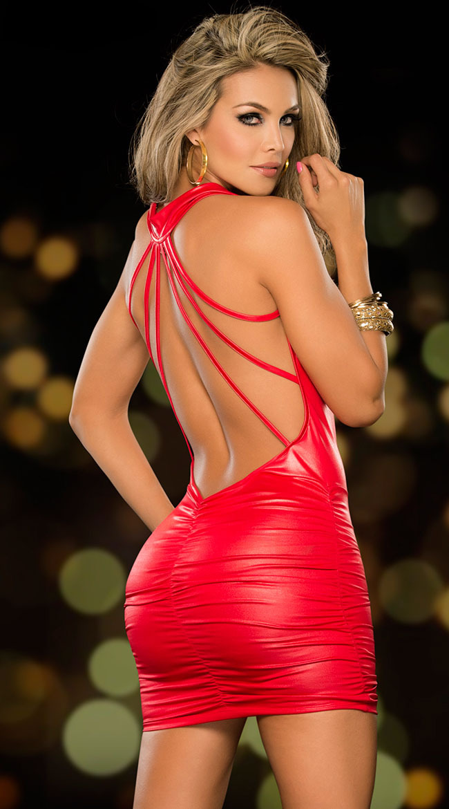 fb3af898e766b US $12.99 |2018 Sexy PVC Leather Latex Dress Red Shiny PVC Halter  Sleeveless Catsuit Erotic Bondage Pleated Dress Clubwear Costume-in Dresses  from ...