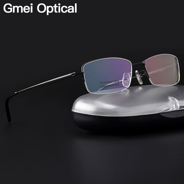 e5e29c9242d6 Gmei Optical Ultralight 100% Pure Titanium Half Rim Glasses Frame For  Business Men Myopia Reading