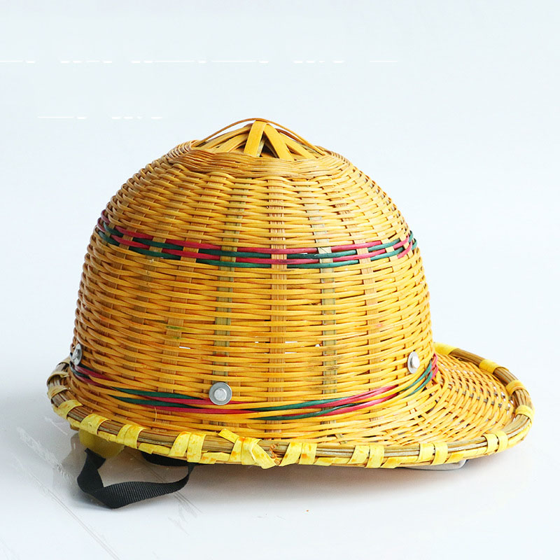 Bamboo Hat Helmet Summer Breathable Safety Helmets With Steel Plate Inner Shell Hard Cap For Working Workers Protection classic solar energy safety helmet hard ventilate hat cap cooling cool fan delightful cheap and new hot selling