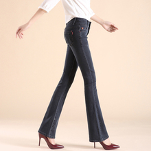 2016 New Brand High Waist Skinny Flare Jeans Woman Sexy Push Up Jeans Female Plus Size Bell Bottom Pants Jeans Slim