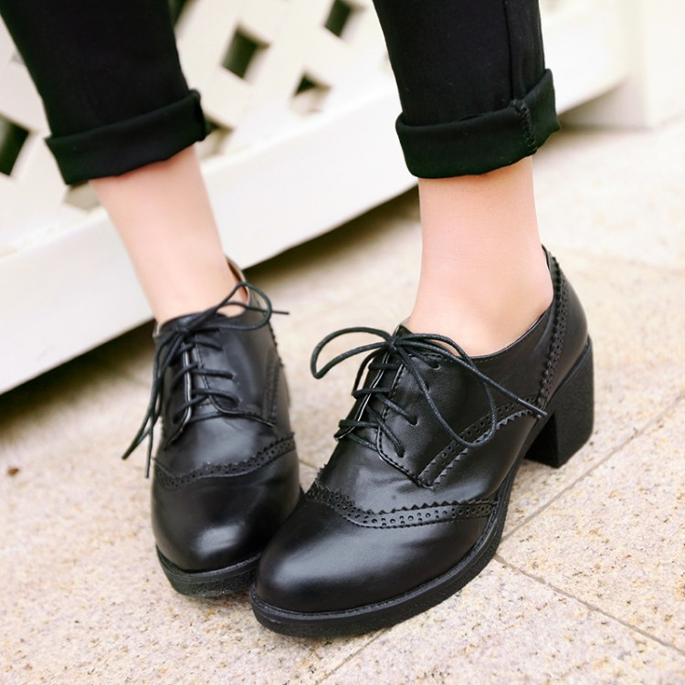 British Style Curved Lace Up High Heels Oxford Shoes For Women Fashion Thick Heels Student Shoes