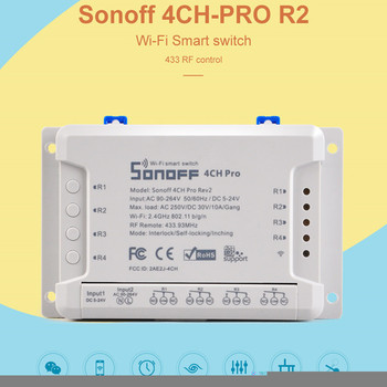 Sonoff 4ch R2 PRO Smart Switch 4 Channels 433MHz 2.4G Wifi Remote Control Smart Home Automation 10A House Appliances