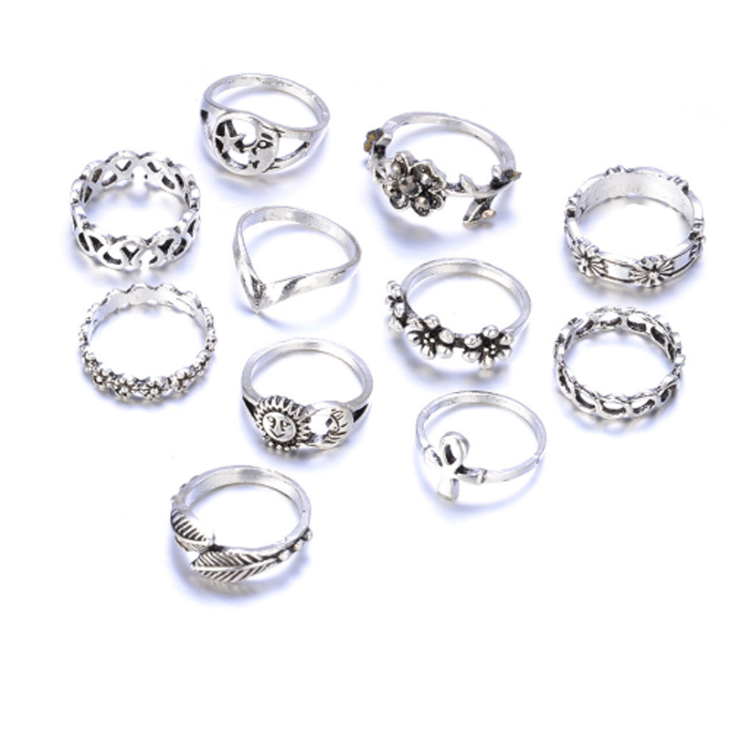 11pcs/Set Fashion Bohemian Cross Hollow Moon Sun Flower Leaf Rings Set For Women Jewelry Beach Finger Knuckle Rings Anillos