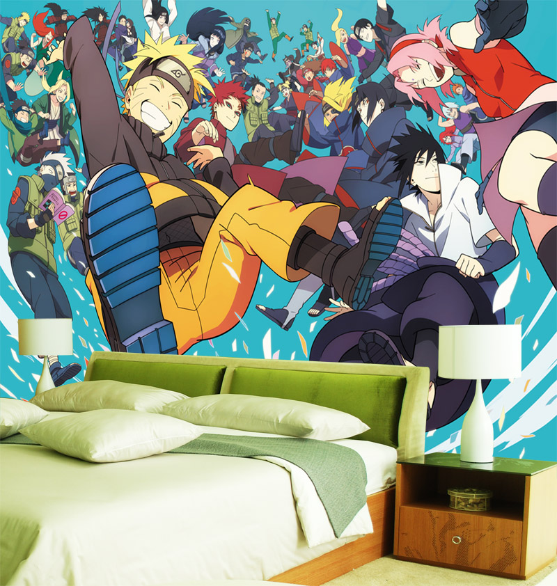 Custom 3d wallpaper naruto photo wallpaper japanese anime for Boys bedroom mural