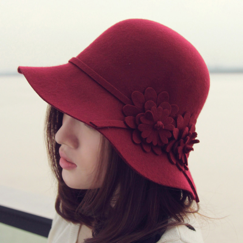 Thantrue woolen hat autumn and winter flower bucket hats women s dome Wine  billycan red winter hat edfe33e795