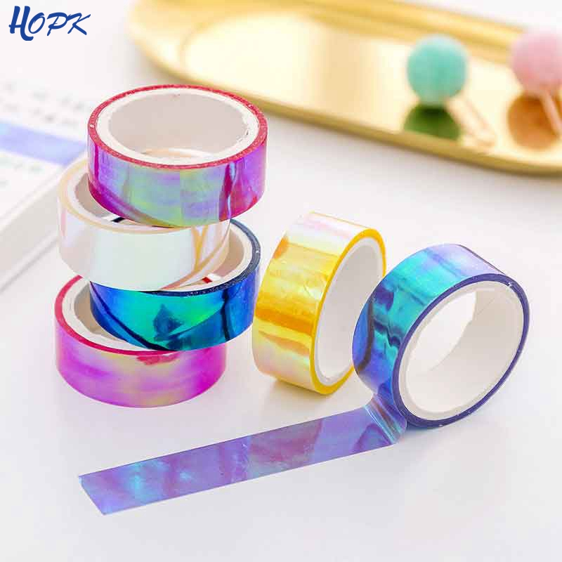 6 Colors Iridescent Rainbow Laser Washi Masking Tape Sticky Adhesive DIY Craft Decor Washi Tape Stickers Scrapbooking Decorative
