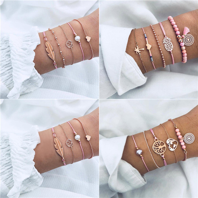 Modyle 2019 New Bohemia Heart Feather Bracelet Sets For Women Weave Pink Rope Chain Bracelets Bangles Wholesale