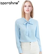 SPARSHINE 2018 Female Chiffon Shirt Blue White Blouse Women Blusas Tops Blusa Feminina Camisa Ladies Blouse
