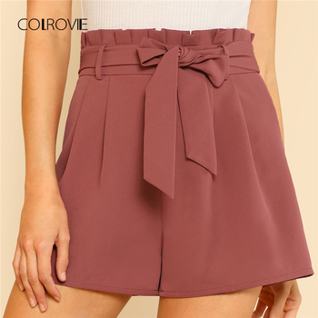 COLROVIE High Waist Plain Wide Leg Elegant Shorts
