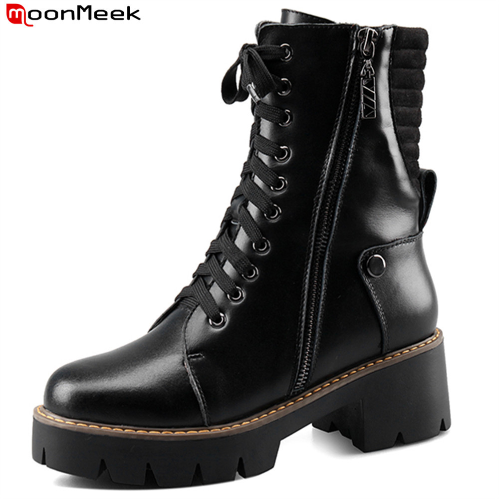 MoonMeek black lace up women boots zipper genuine leather round toe square heel ladies boots platform cow leather ankle boots ladies casual lace up flat ankle boots fashion round toe plain cow leather boots for women female genuine leather autumn boots