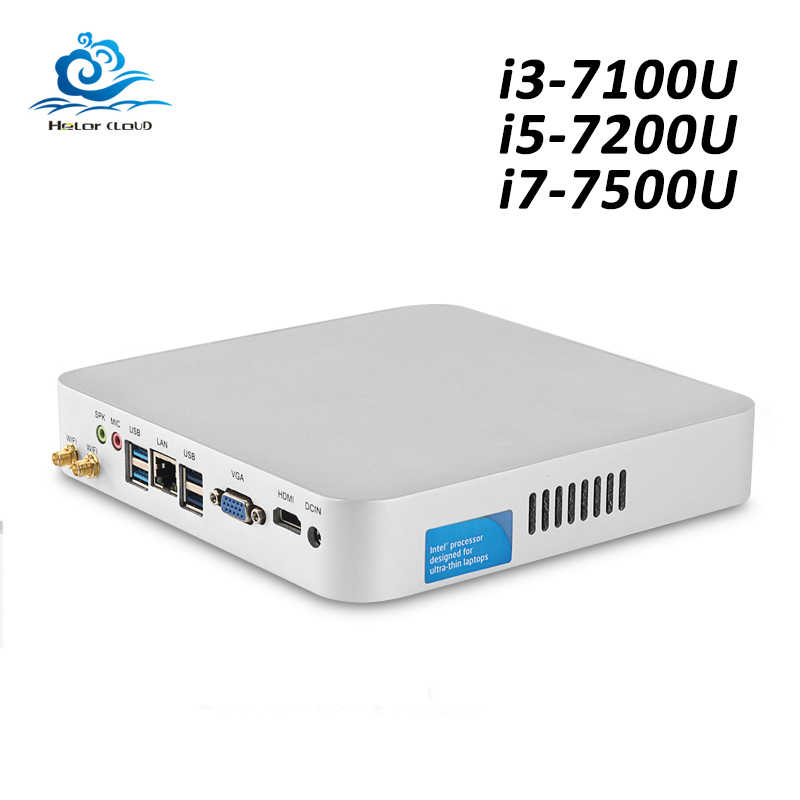 HLY мини-ПК Core i3 7100U i5 7200U i7 7500U Windows 10 4K UHD мини-компьютер HDMI USB Wifi 2,5 дюймов SATA HDD Windows PC minipc