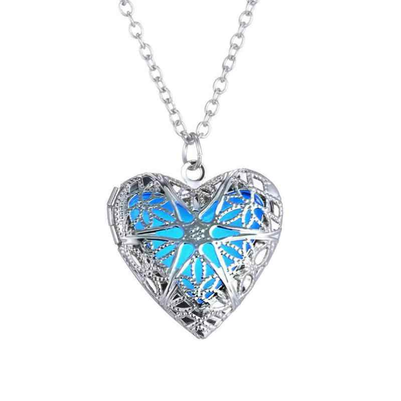 Boho Luminous Hollow Love Heart Necklace Glowing In The Dark Pendant Necklaces Jewelry Valentine's Day Gifts Statement Necklace