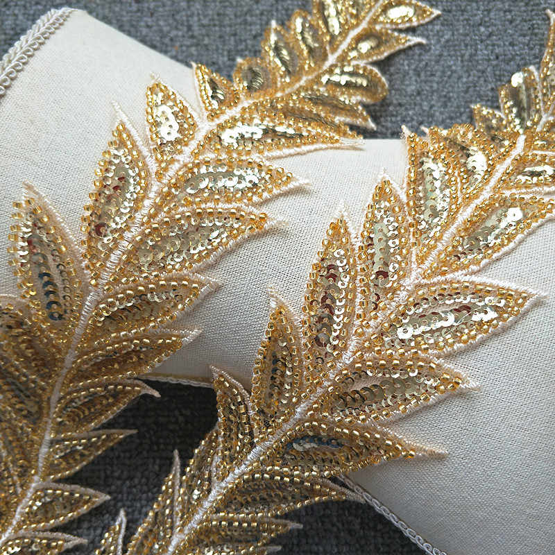 7fe79e5230594 1 Yard Leaf Sequin Pearl Beaded Tulle Lace Trim in Gold Silver for Bridal  Sash Wedding Belt Women Dress Gown Strap 6cm Wide