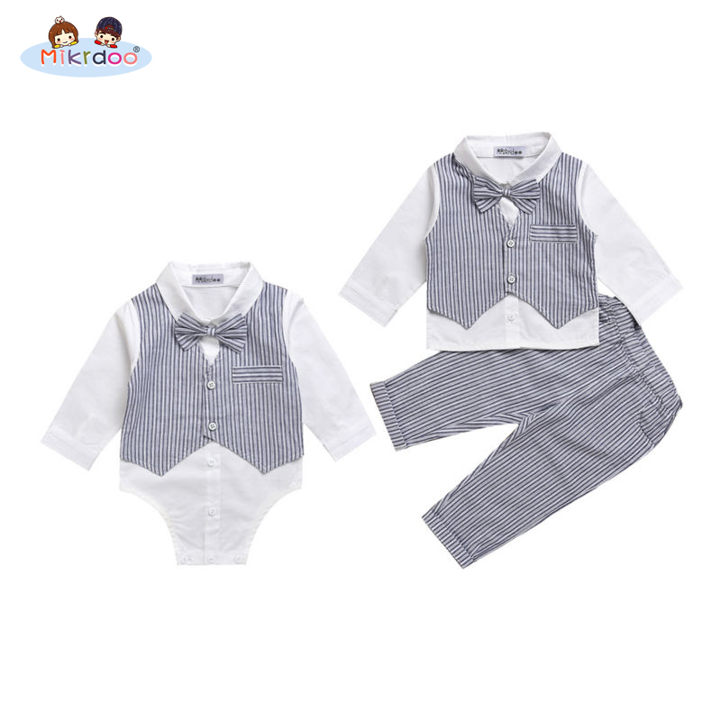 Baby boy gentleman clothes set 2018 striped pants bow shirt romper suit vest fake 2 pieces turn-down collar Age 0-2 Years