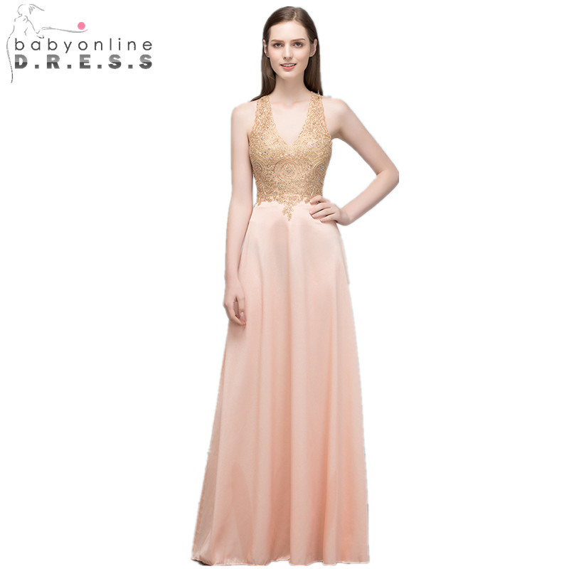 Babyonline 2018 New Pink Lace Long Evening Dress Sexy Halter Neck Backless A Line Evening Gowns with Appliques Vestido de Festa