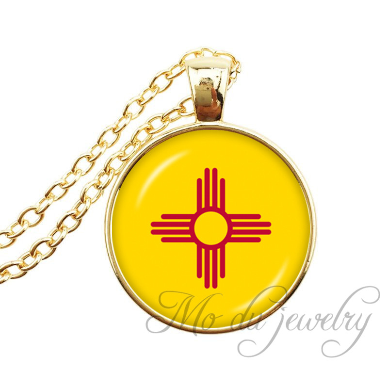 <font><b>New</b></font> <font><b>Mexico</b></font> State Flag Necklace State of <font><b>New</b></font> <font><b>Mexico</b></font> Pendant Flag of NM Jewelry USA States Glass Cabochon Long Necklaces Jewelry