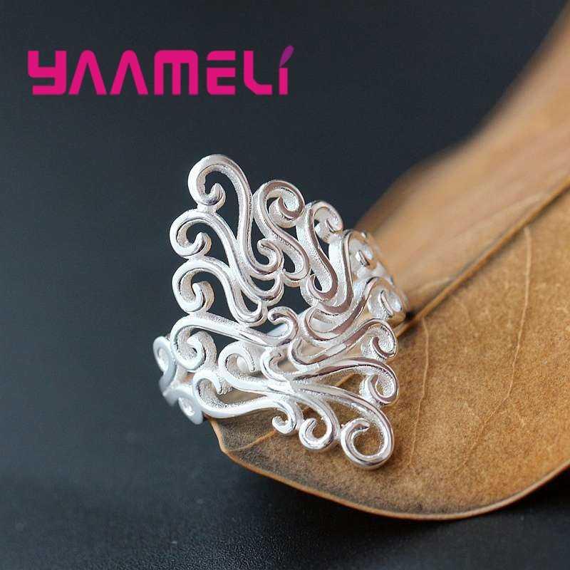 โบฮีเมียสไตล์การออกแบบรูปแบบไม่สม่ำเสมอ 925 แหวนเงินงานแต่งงานแหวนเครื่องประดับฟรีจัดส่ง