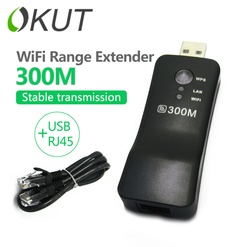 OKUT 300Mbps Universal Wireless TV Wifi Adapter Network Card RJ-45 Wi-fi WPS Repeater AP Mode for Samsung LG Sony TV